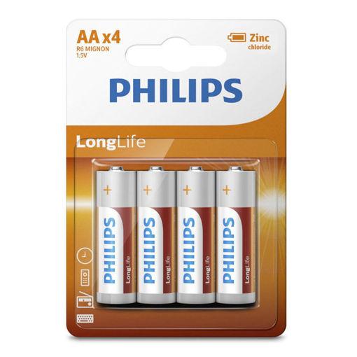 Εικόνα για Μπαταρίες AA Μεγάλης Διάρκειας Ζωής Philips 4 Τεμάχια